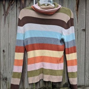 Colorful Striped Ribbed Turtleneck Shirt, sz M EUC